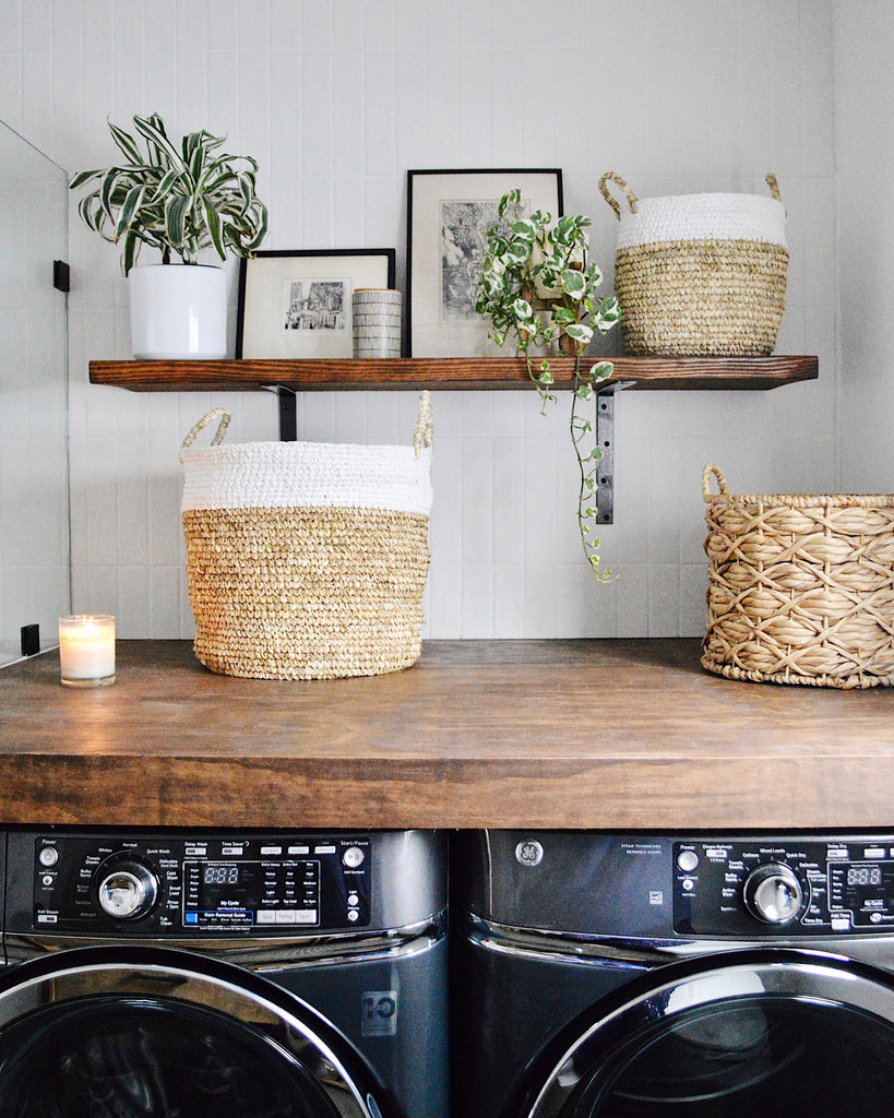 Kristin Dion laundry room natural elements earthy tones