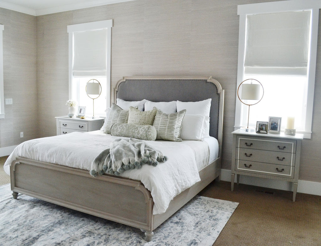 Minimalist guest bedroom with Flax Off-White Barn & Willow Roman Shades