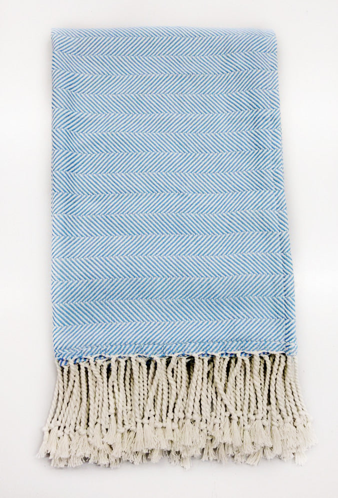 herringbone throw blue