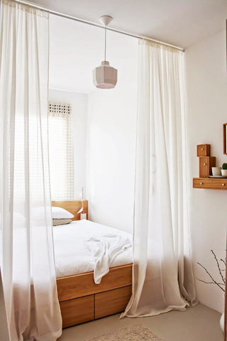 Barn & Willow - Curtains create a cozy bedroom nook