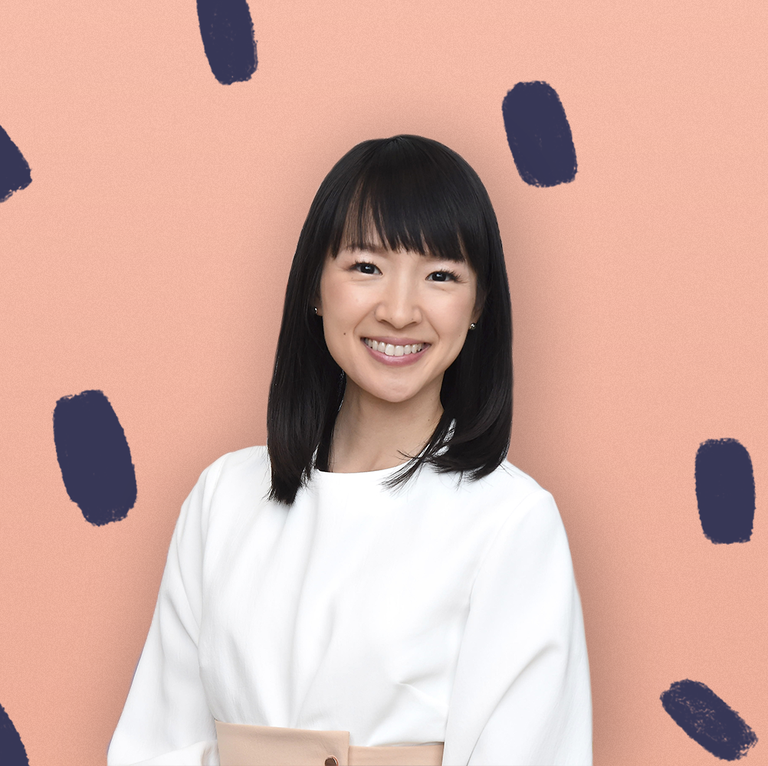 Marie Kondo, Pink background with Black Spots