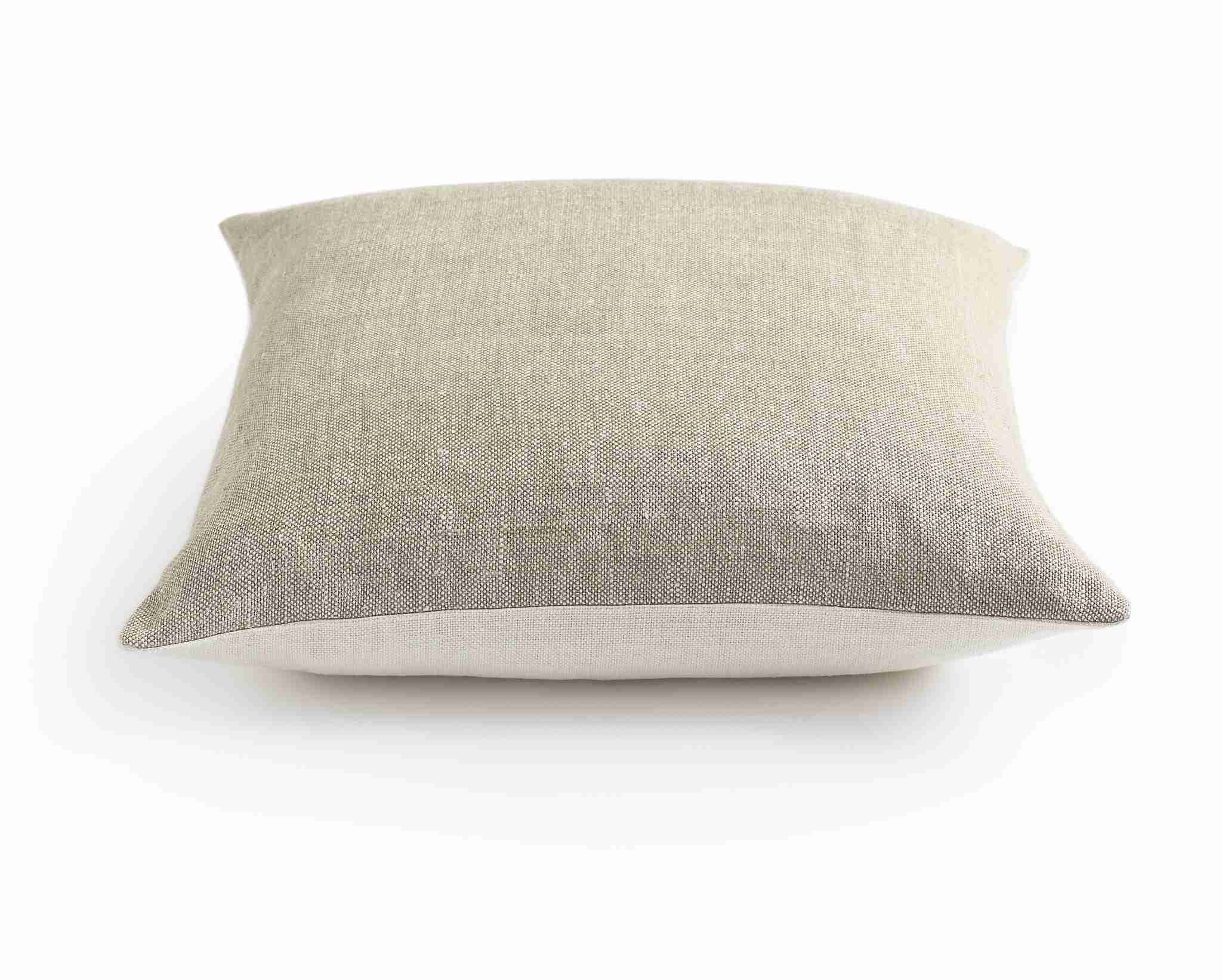 Belgian Linen Pillow Cover - Oyster and Oatmeal