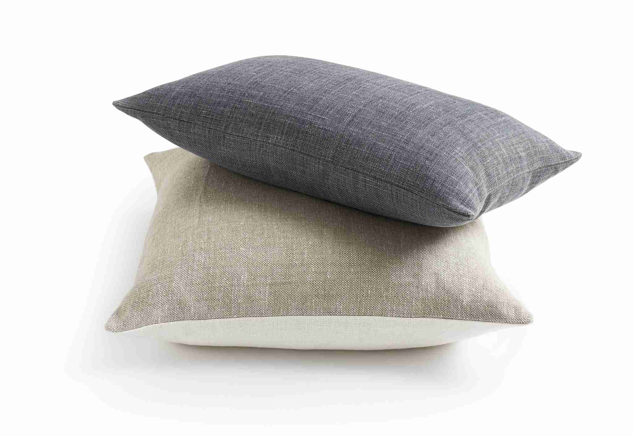 Belgian Linen Pillow Cover - Oyster and Oatmeal  & Shale lumbar