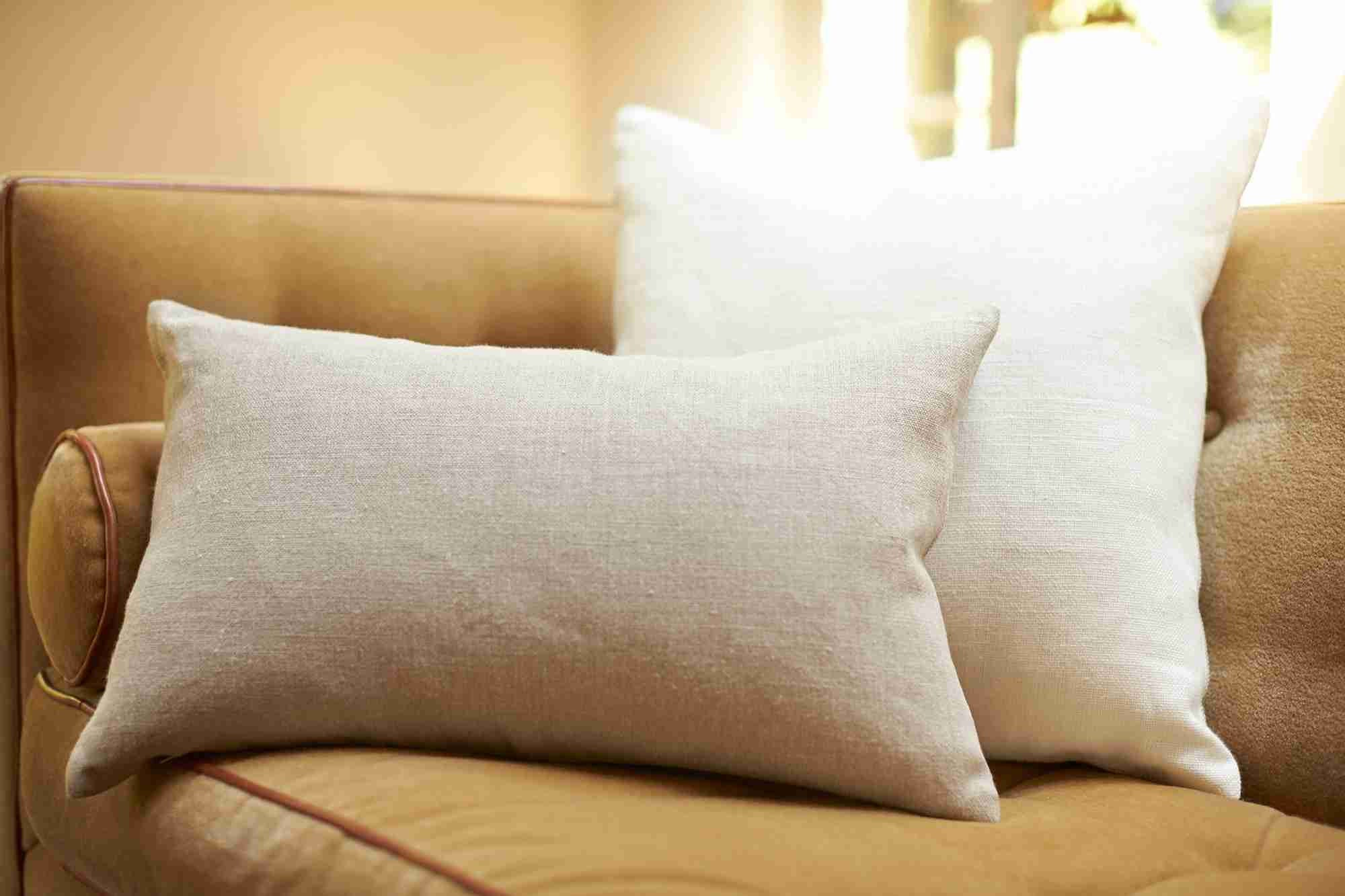 Belgian Linen Lumbar Pillow Cover - Flax on couch