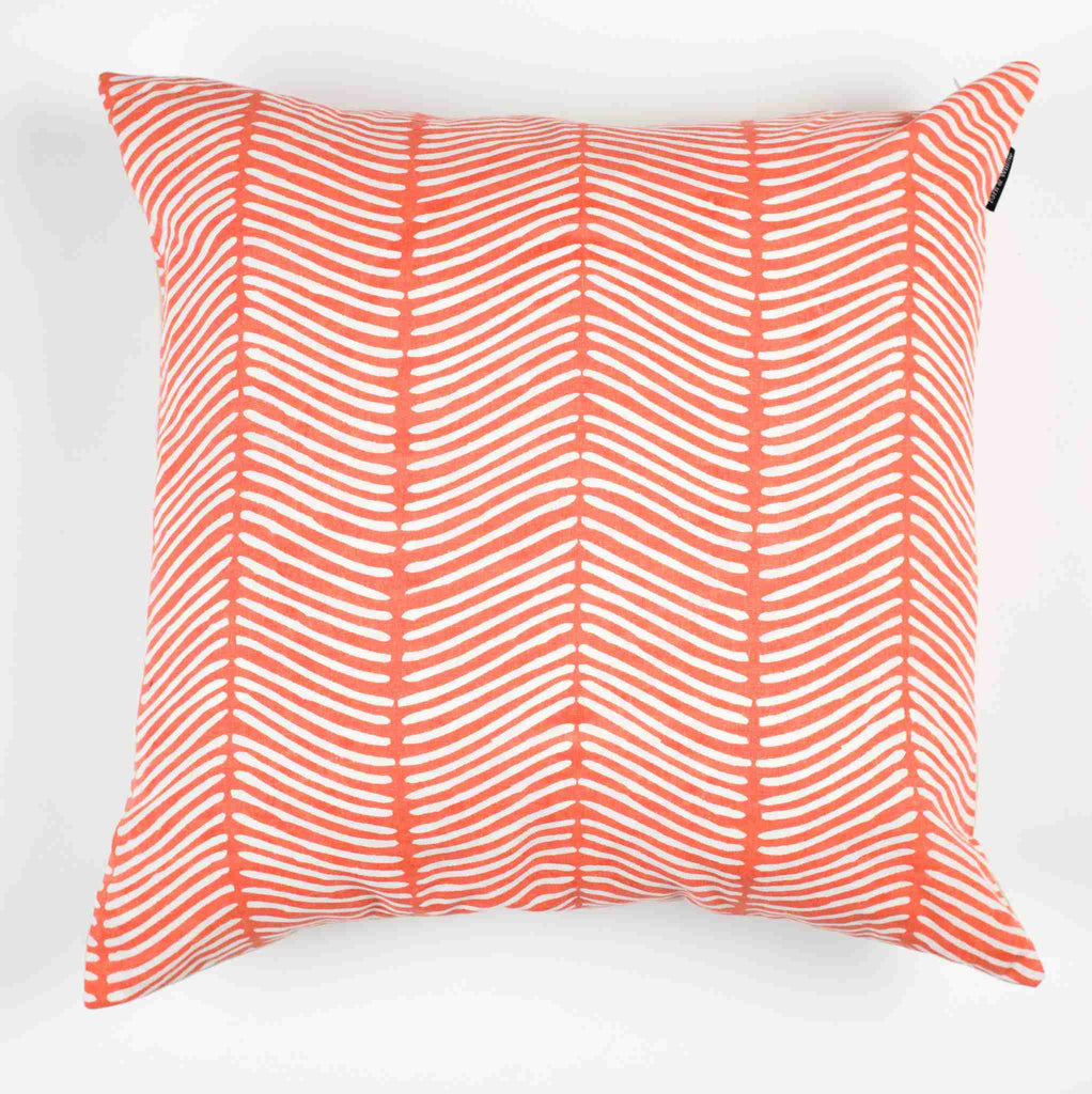 Curved Herringbone Pillow Cover - Coral