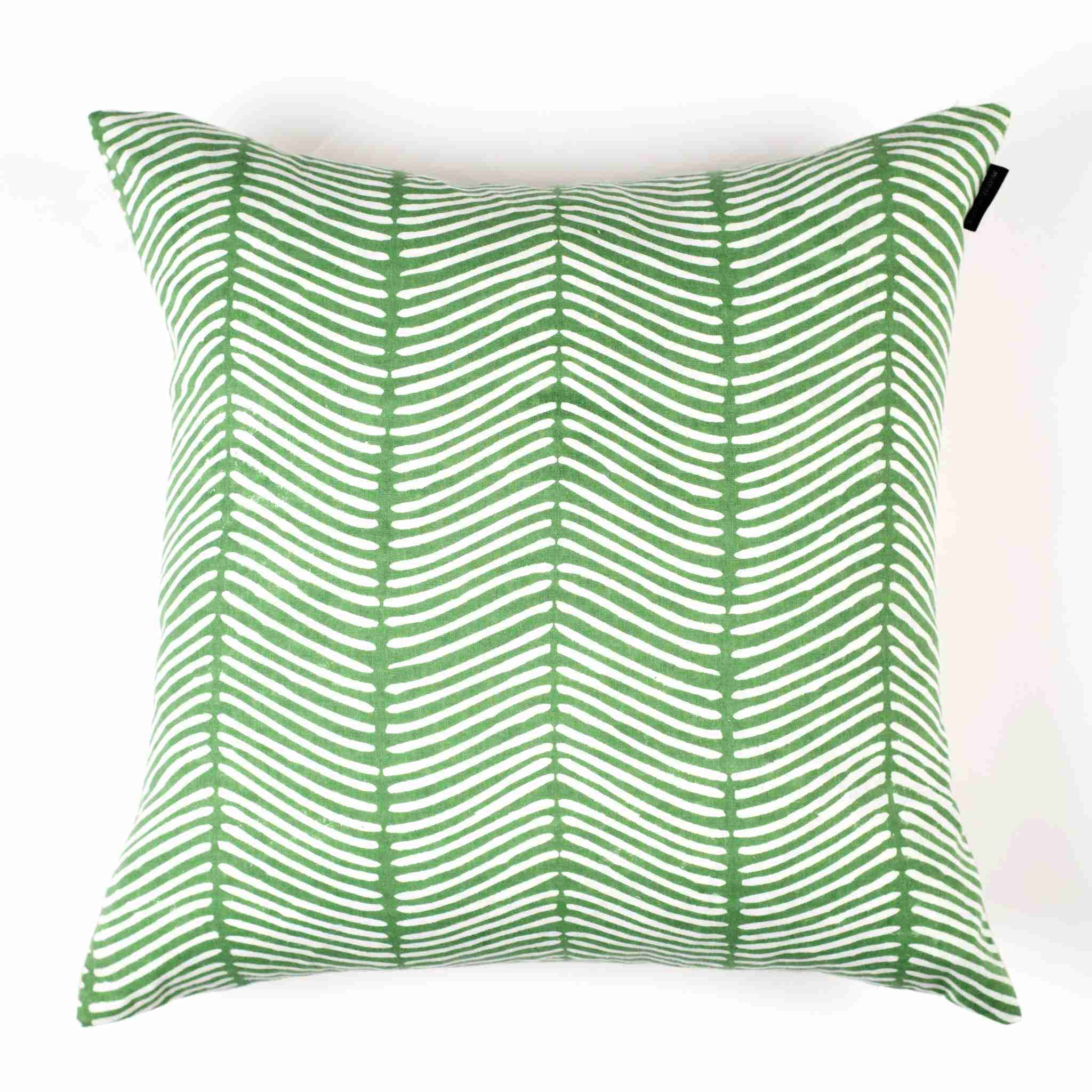 Curved Herringbone Pillow Cover - Leafy Green
