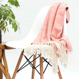 Herringbone Cotton Throw - Peach