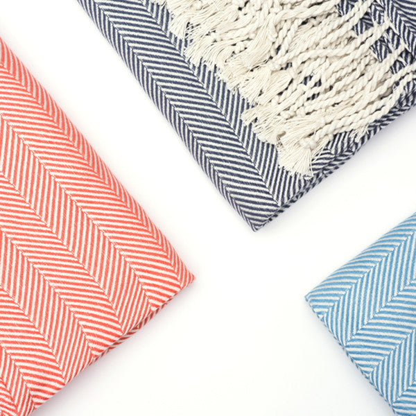 Herringbone Cotton Throw - Mist Blue