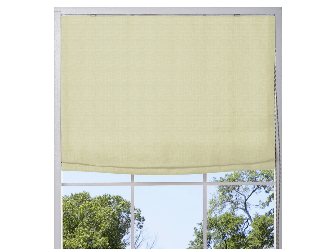 Washed Belgian Linen Roman Shade - Mint