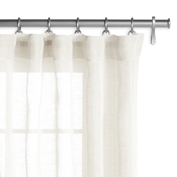 Belgian Sheer Linen Off White Drapery Custom Curtains
