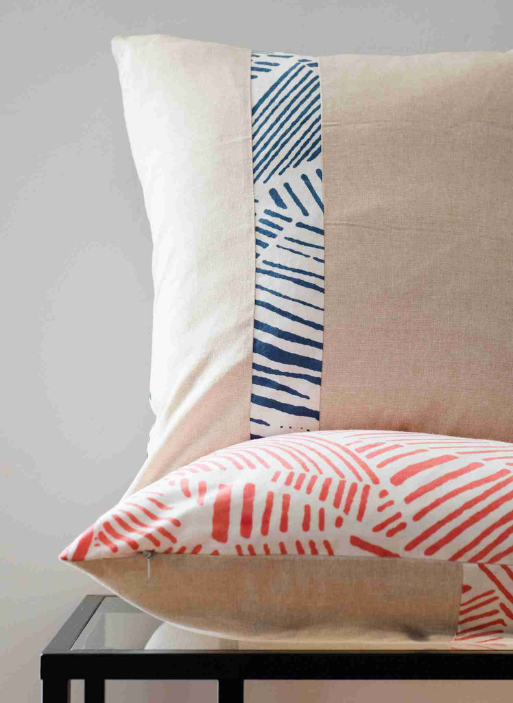 Printed Brush Lines Pillow Cover – Coral