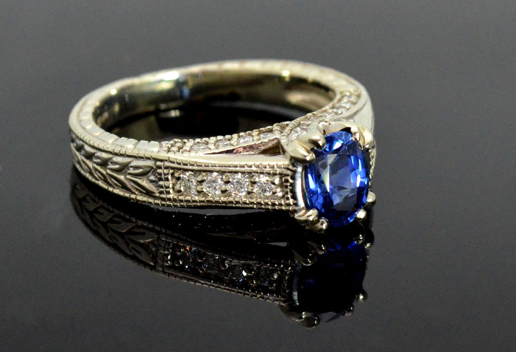 Blue Sapphire, Diamond And White Gold Ring