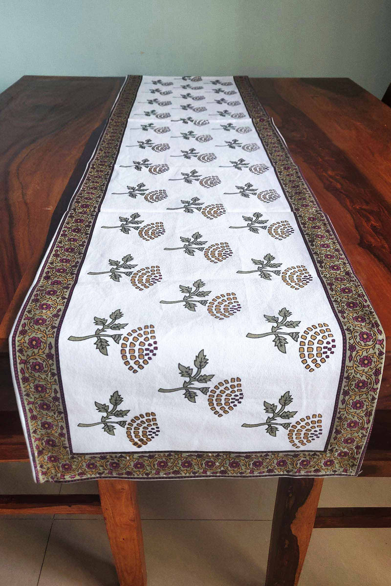 Brown Disc Flower Canvas Handblock Table Runner