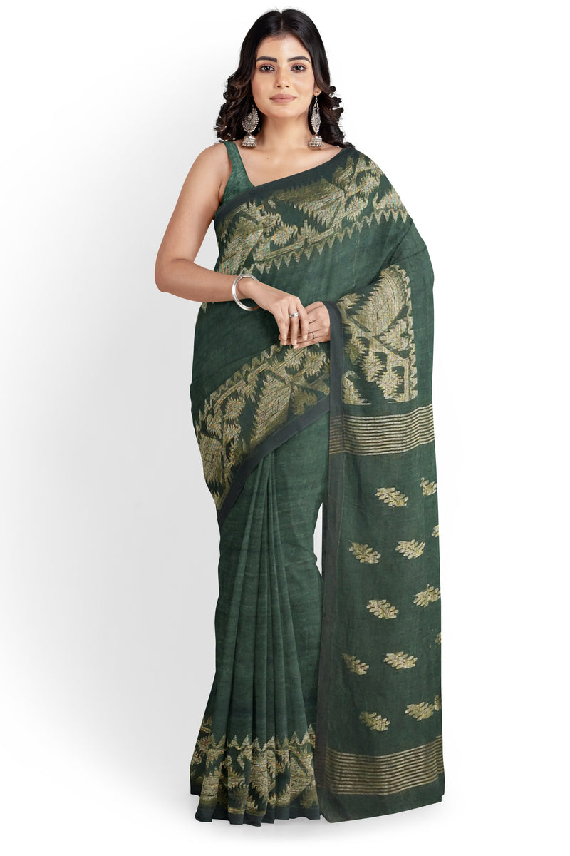 Green Aurelia Linen Saree