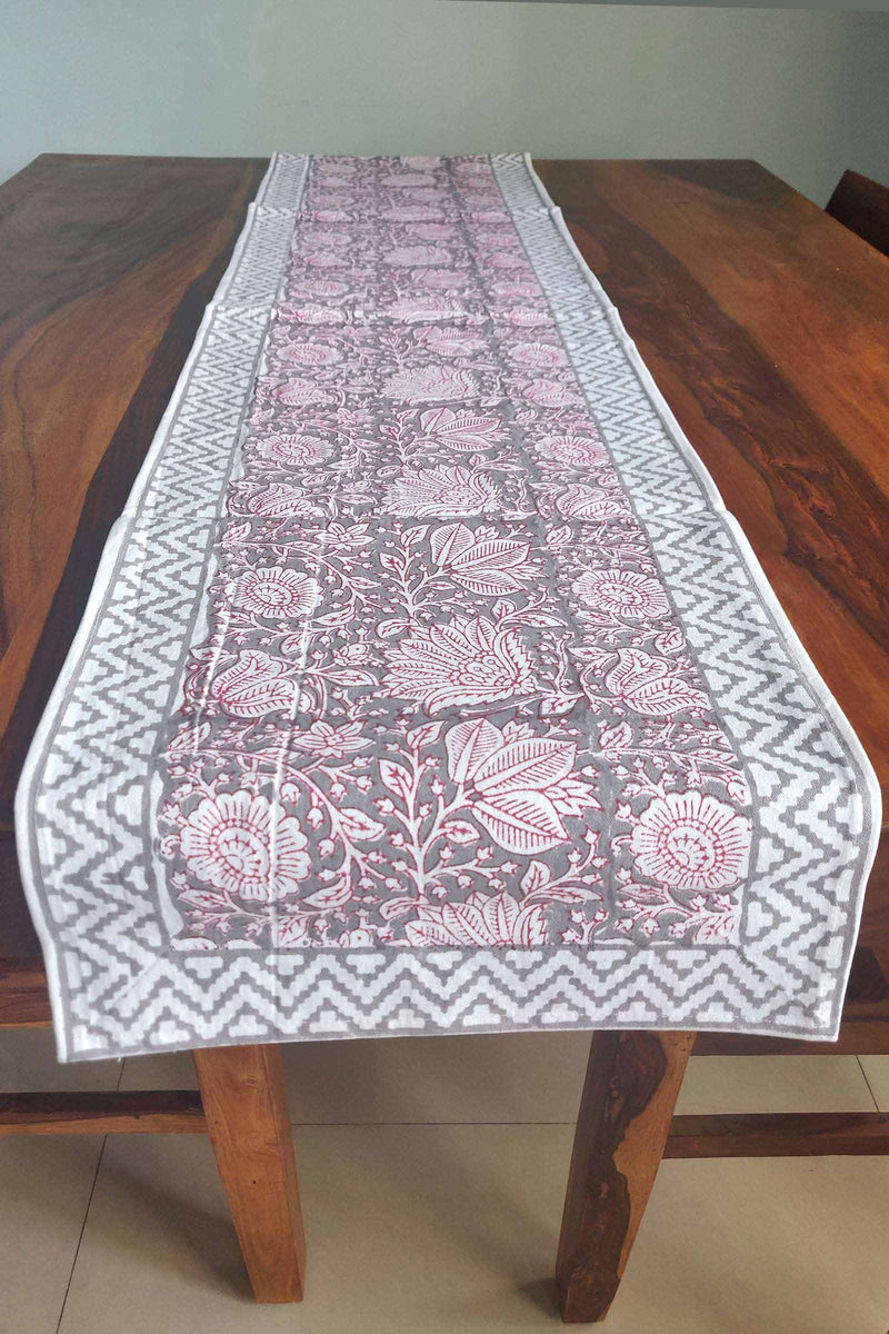 Grey Mosaic Canvas Handblock Table Runner