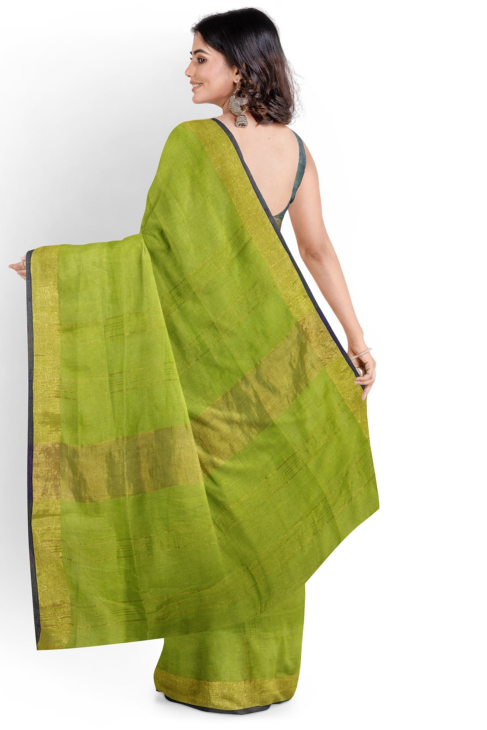 Lime Green Jealousy Linen Saree