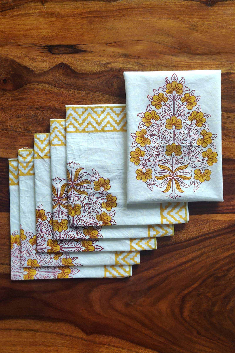 Marigold Bouquet Cotton Napkins Set of 6 with Handblock Print