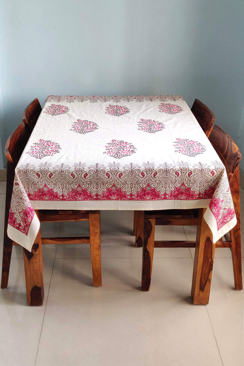 Pink Tessellate Cotton Handblock Table Cover