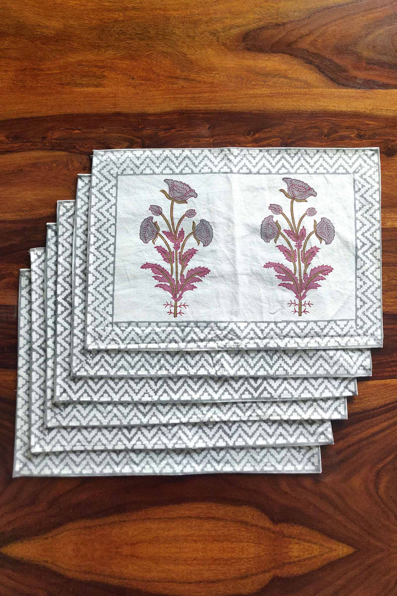 Tilted Flower Canvas Handblock Mats Set of 6