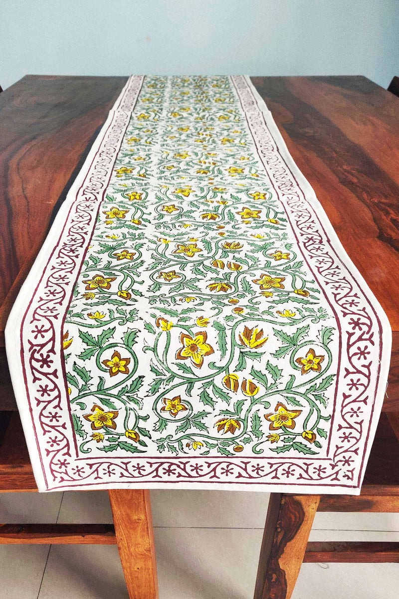 Yellow Filigree Canvas Handblock Table Runner