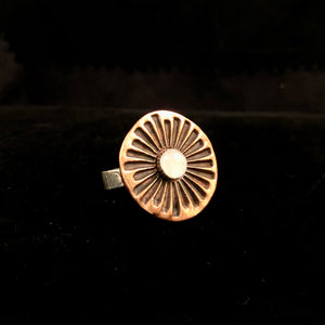 Destash Moonstone Copper Sun Ring-size 8