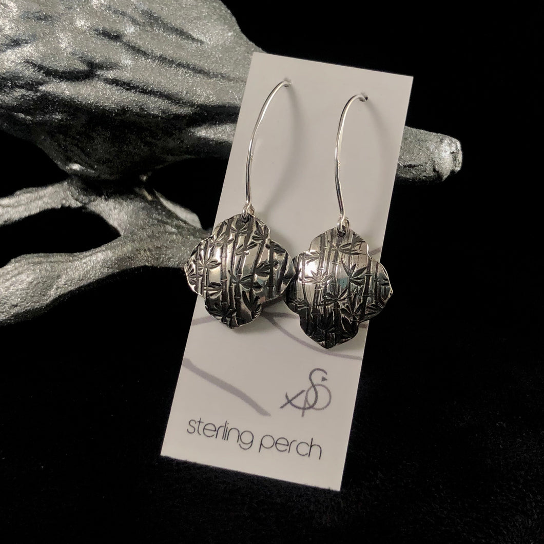 Bamboo Texture Sterling Silver Earrings