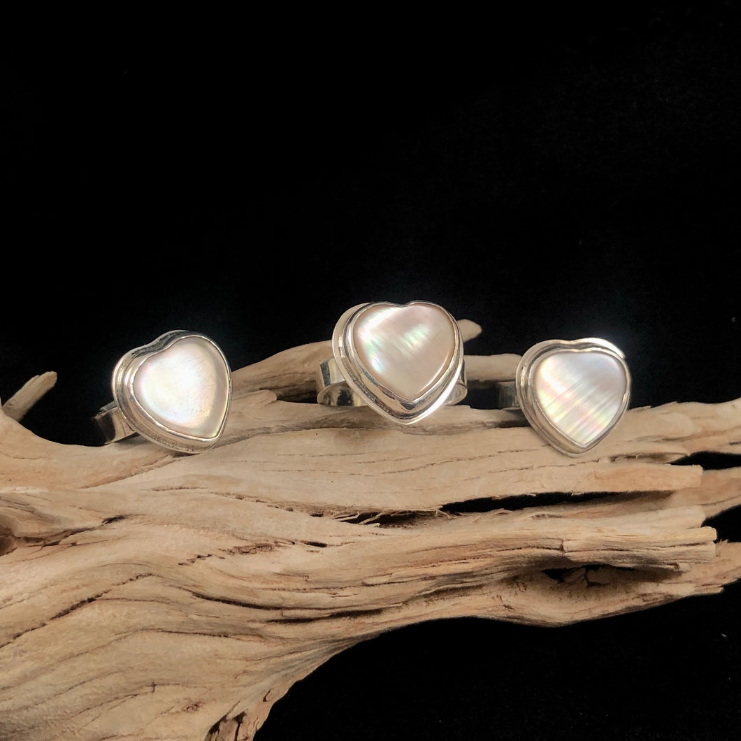 Mother of Pearl Heart Rings