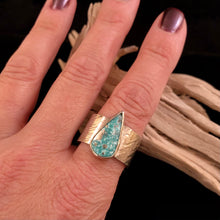 Load image into Gallery viewer, Destash Turquoise & Wide Band Ring-size12.5