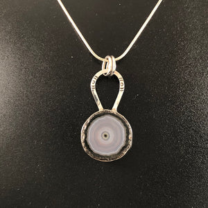 Ice Blue Agate Slice Necklace