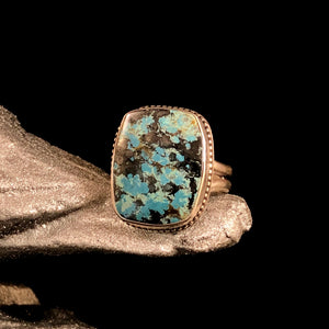 Square Stormy Mountain Turquoise Ring Size 10