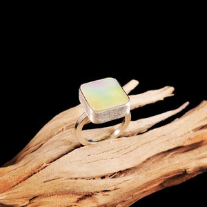 Square Mother of Pearl Ring