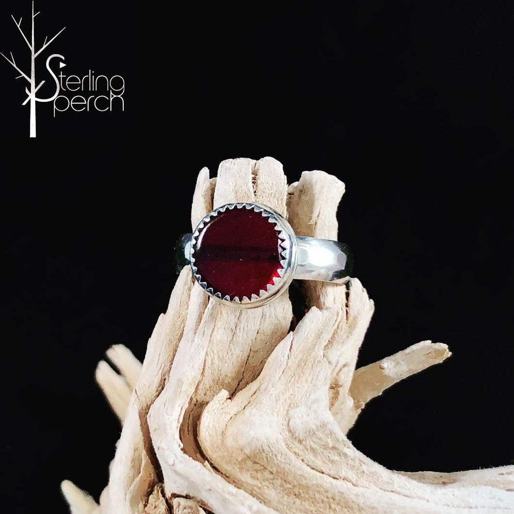 Round Red Coral Rings