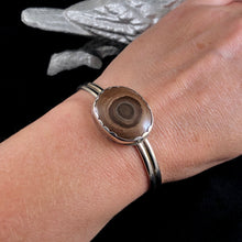 "Load image into Gallery viewer, Ryolite Nodule ""Bullseye"" + Sterling Silver Cuff Size Large"