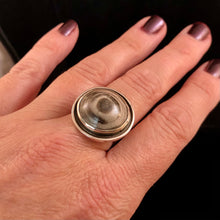 "Load image into Gallery viewer, Destash Petrified ""Bullseye"" Ring-size 8"