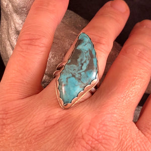 Talon Shaped Turquoise + Sterling Silver Ring Size 6.75/7