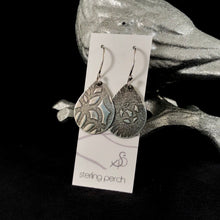Load image into Gallery viewer, Large Teardrop Textured Sterling Silver Earrings