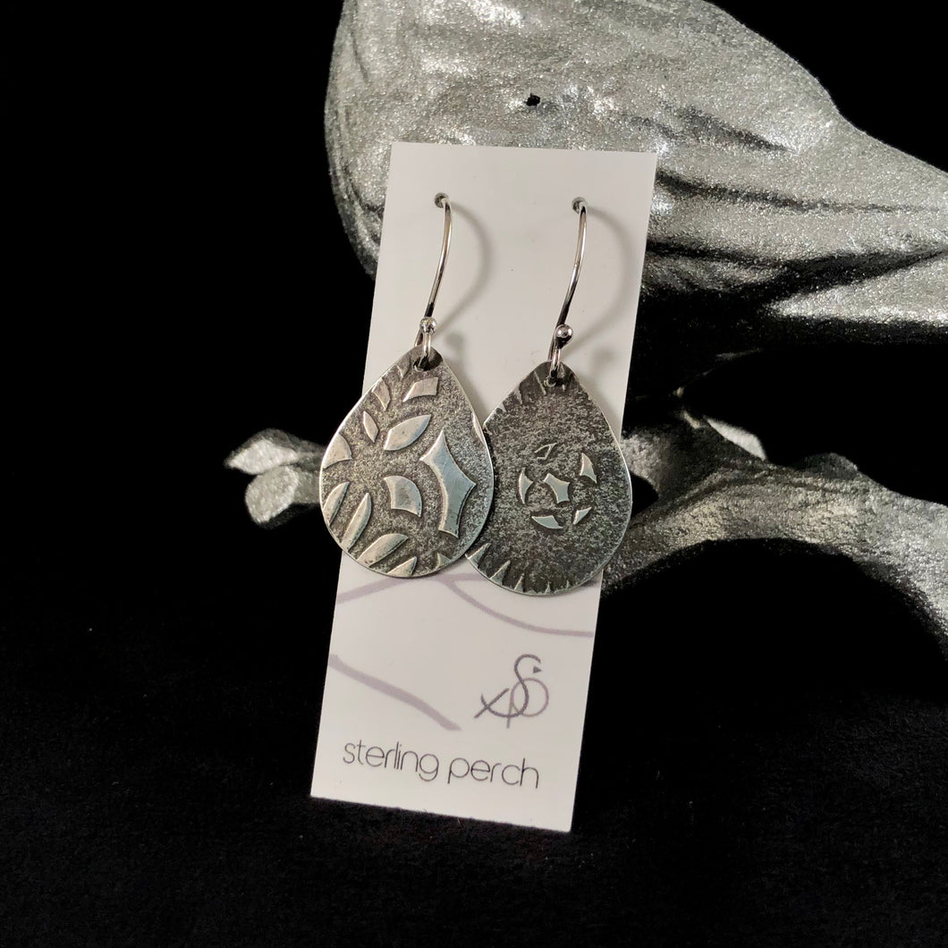 Large Teardrop Textured Sterling Silver Earrings
