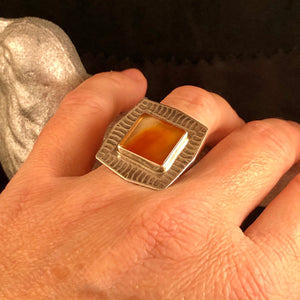 Burnt Orange Agate + Textured Ring Size 7.5
