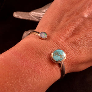 Flashy Opal + Turquoise Open Top Bracelet Size Medium