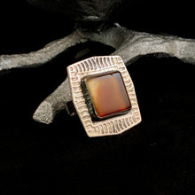 Load image into Gallery viewer, Burnt Orange Agate + Textured Ring Size 7.5