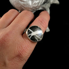 Load image into Gallery viewer, White Buffalo Turquoise Textured Ring Size 9.5