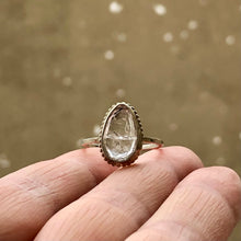 Load image into Gallery viewer, Tourmalinated Quartz Teardrop Ring: Size 7.5