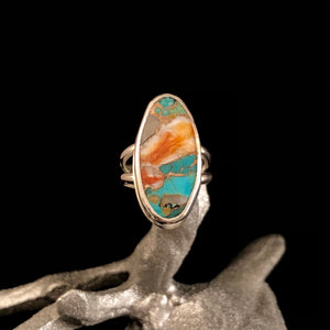 Turquoise & Bronze Composite Ring: Size 7
