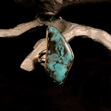 Load image into Gallery viewer, Talon Shaped Turquoise + Sterling Silver Ring Size 6.75/7