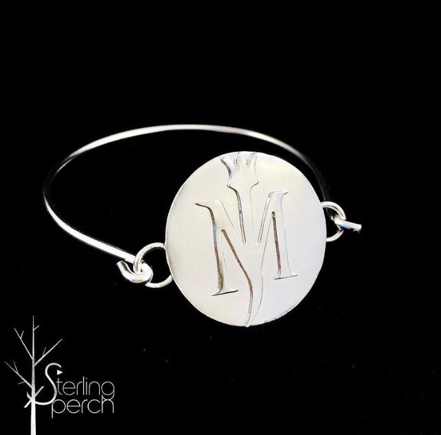 Your Initial Sterling Silver Circle Bracelet