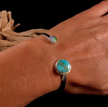 Load image into Gallery viewer, Flashy Opal + Turquoise Open Top Bracelet Size Medium