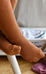 Organic cotton tights - Brown
