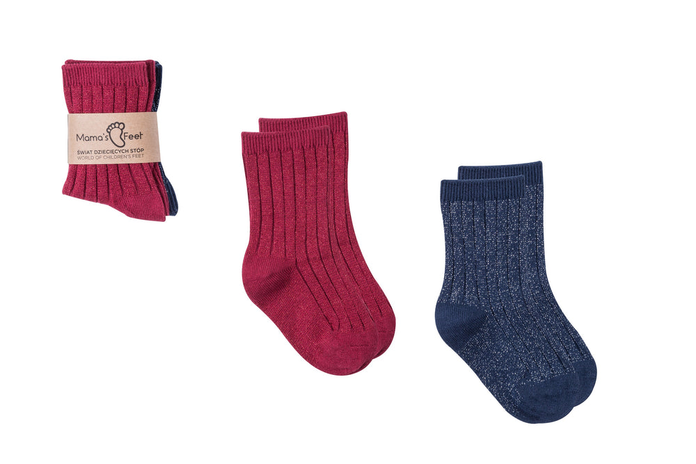 Set of festive glitter socks navy/red