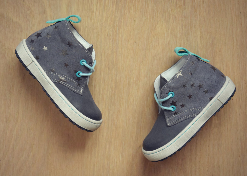 (2150-101) Emel Grey Blue Lace Up Trainers with stars