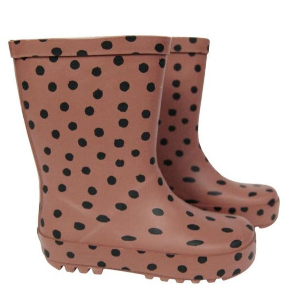 Rainboots dark brown with dots